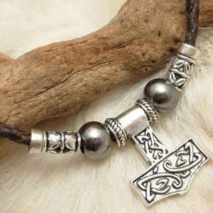 Mjolnir Custom REAL Leather THORS HAMMER Necklace